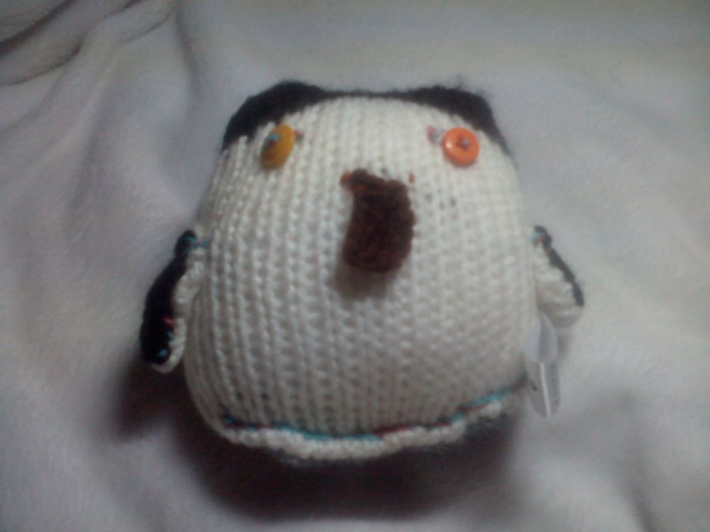 Baby Black White Penguin - Burnt Brown Beak - Orange Yellow Eyes