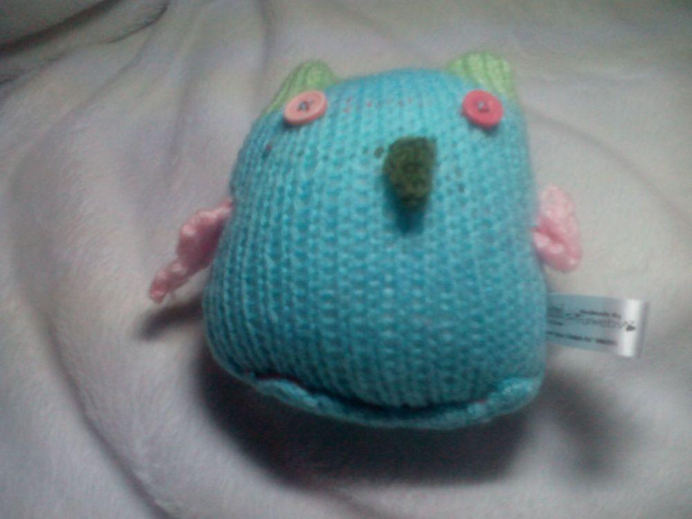 Blue Owl - Pink Wings Mint Green Ears - Sage Beak - Pink Two-tone Eyes