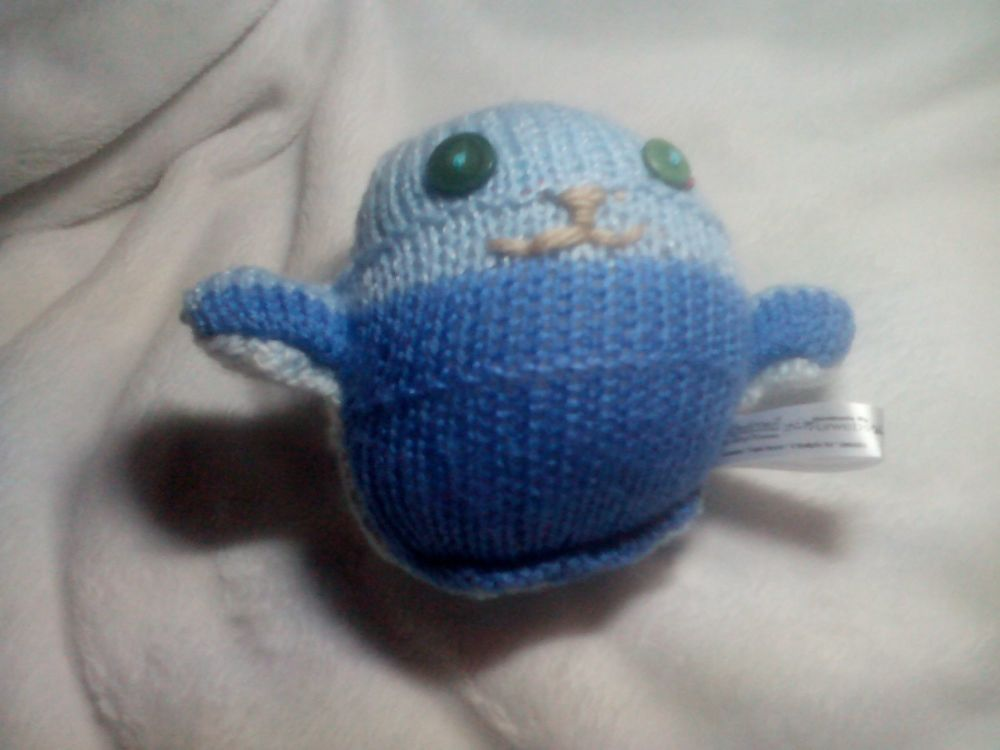 Mid Blue Tummy to Light Grey Back Body with Green Eyes Mini Ted Knitted Sof