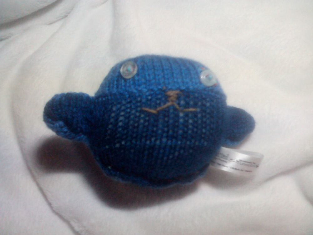 Dark Blue to Mid Blue Body with Clear Pearly Eyes Mini Ted Knitted Soft Toy