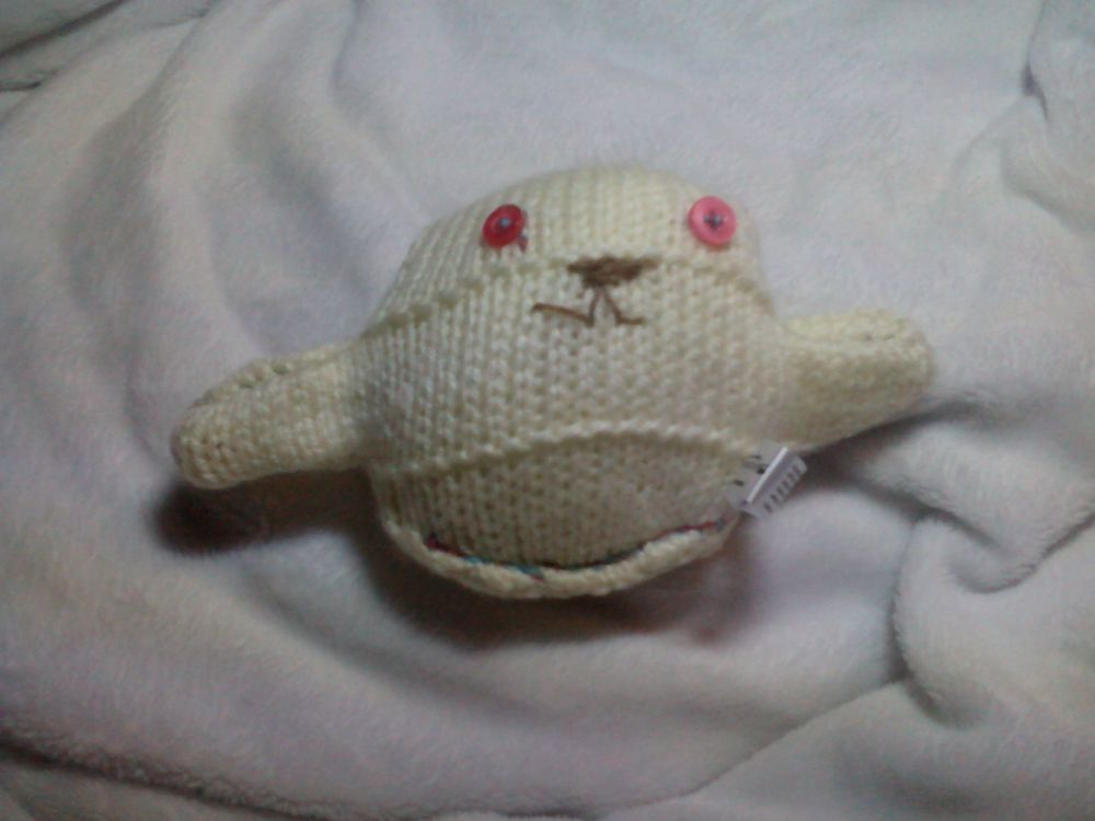 Creamy White Body with Shiny Pink Eyes Mini Ted Knitted Soft Toy