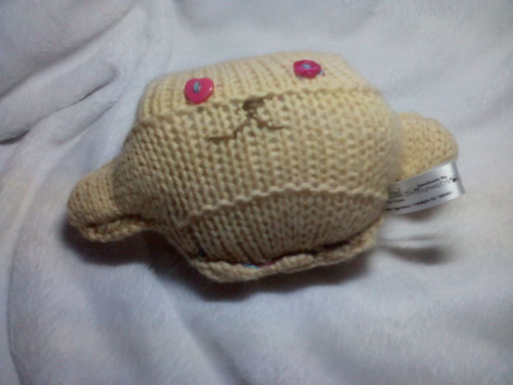Creamy Brown Body with Flower / Heart Pink Eyes Mini Ted Knitted Soft Toy