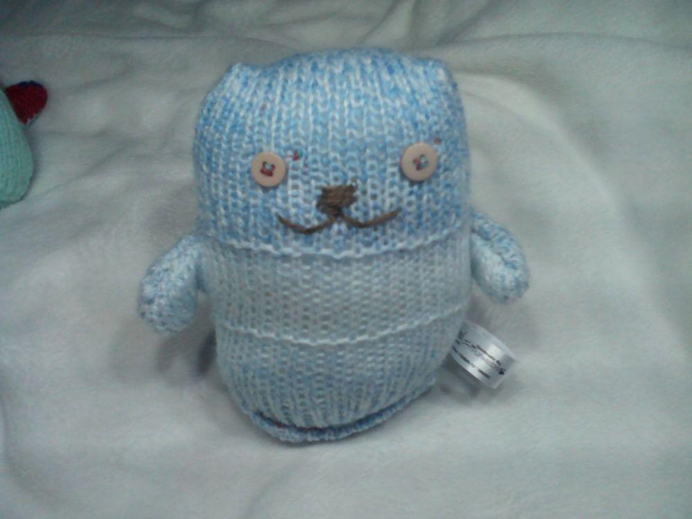 Light Blue White Mottled Beige Brown Eyes Midi Ted