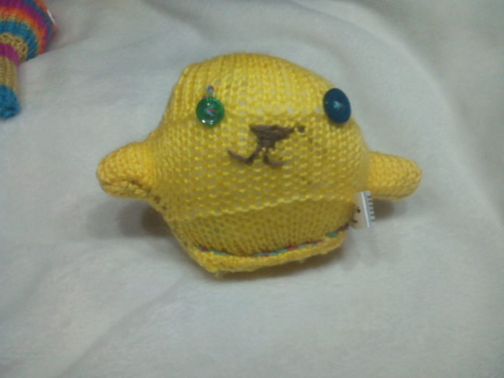 Yellow Body with Green / Dark Turquoise Eyes Mini Ted Knitted Soft Toy