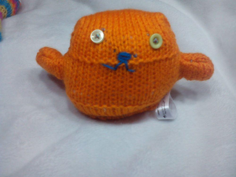 Orange with Lemony Eyes Mini Ted Knitted Soft Toy