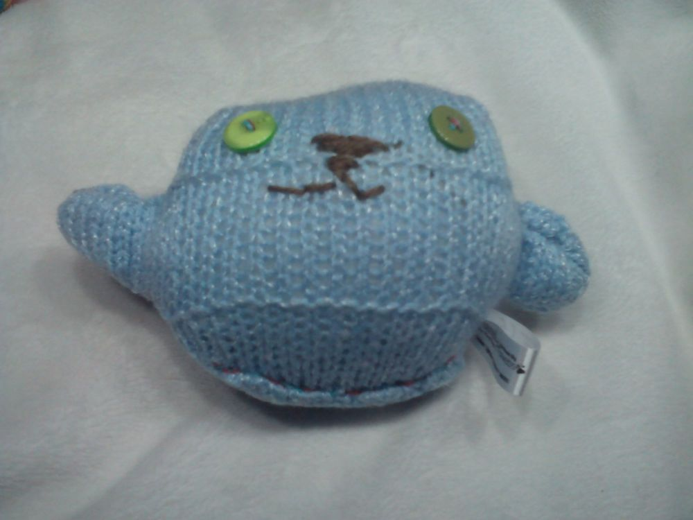 Blue with White Flecks Body with Green / Sage Eyes Mini Ted Knitted Soft Toy