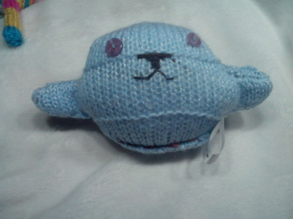 Blue with White Flecks Body with Lilac Eyes Mini Ted Knitted Soft Toy