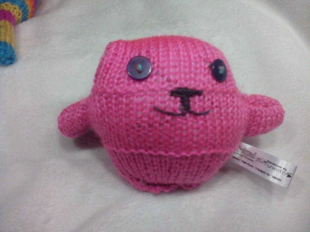Warm Pink Body with Dark Purple / Dark Slate Eyes Mini Ted Knitted Soft Toy