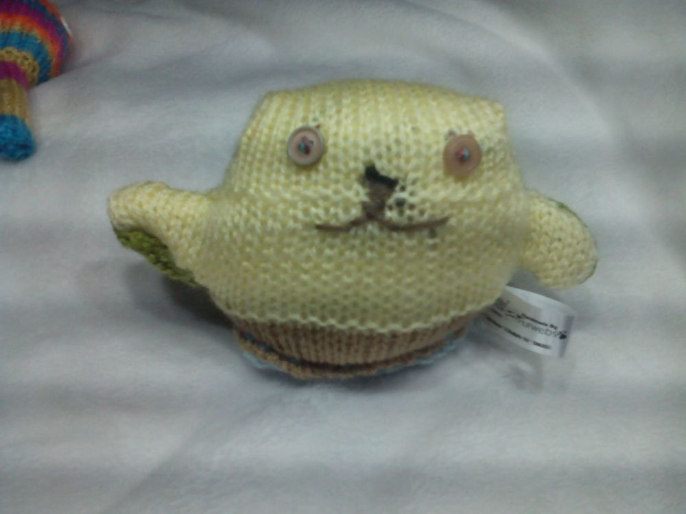 Light Brown, Creamy Yellow and Green Body with Light Brown Eyes Mini Ted Knitted Soft Toy