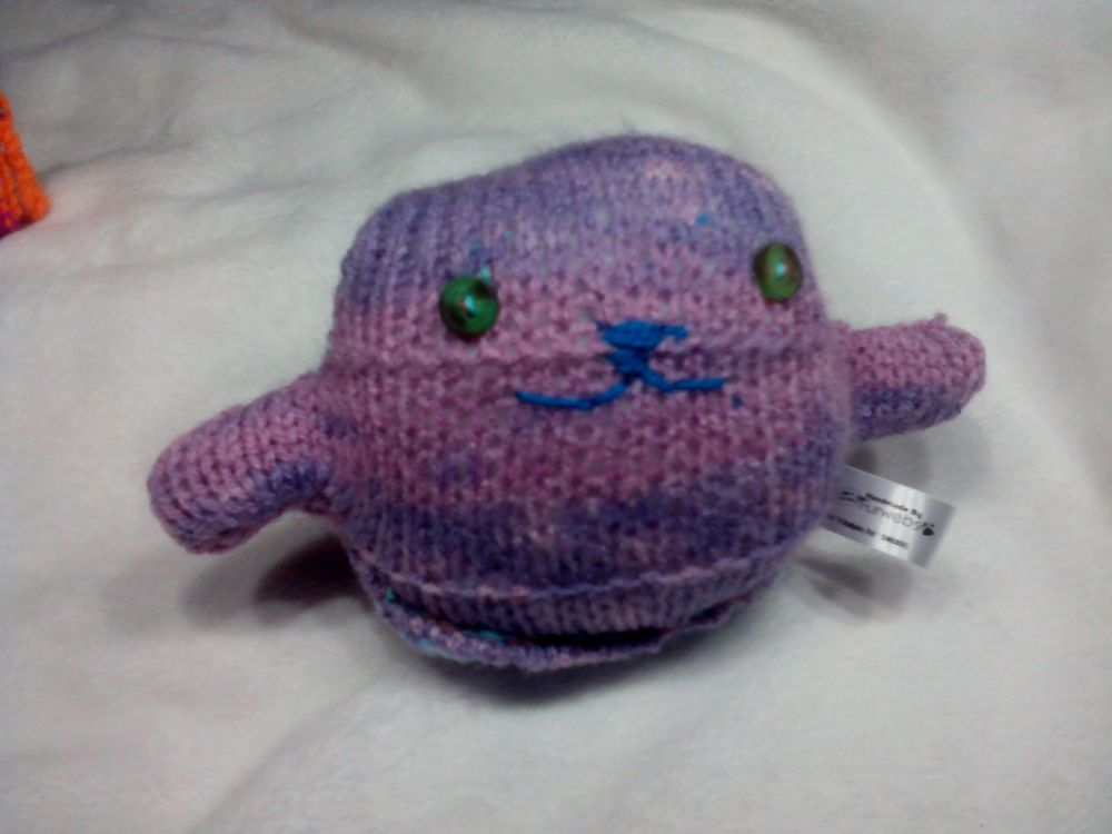 Purple Rainbow Body with Mottled Green and Brown Eyes Mini Ted Knitted Soft