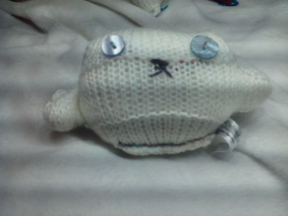 White Body with Light and Primrose Blue Eyes Mini Ted Knitted Soft Toy
