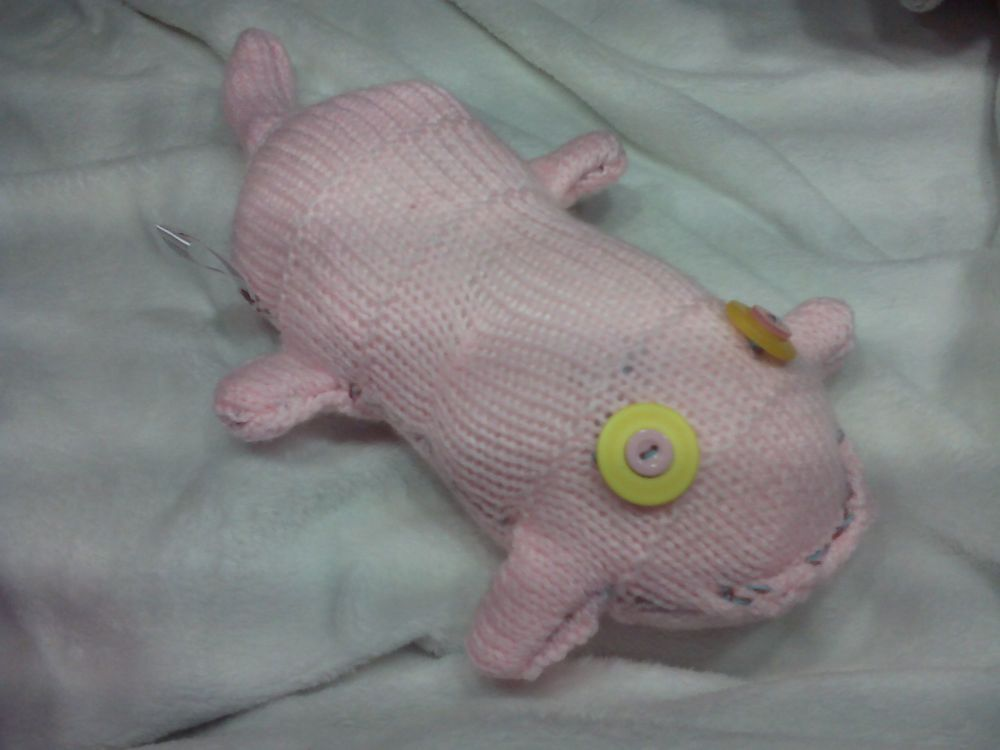 Pale Pink Scuttlecat with Oversized Yellow and Pink Eyes