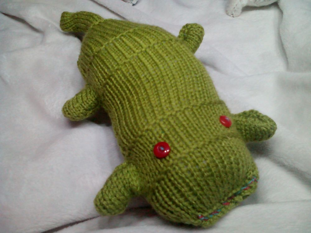 Dark Pear Green Scuttlecat with Red Eyes