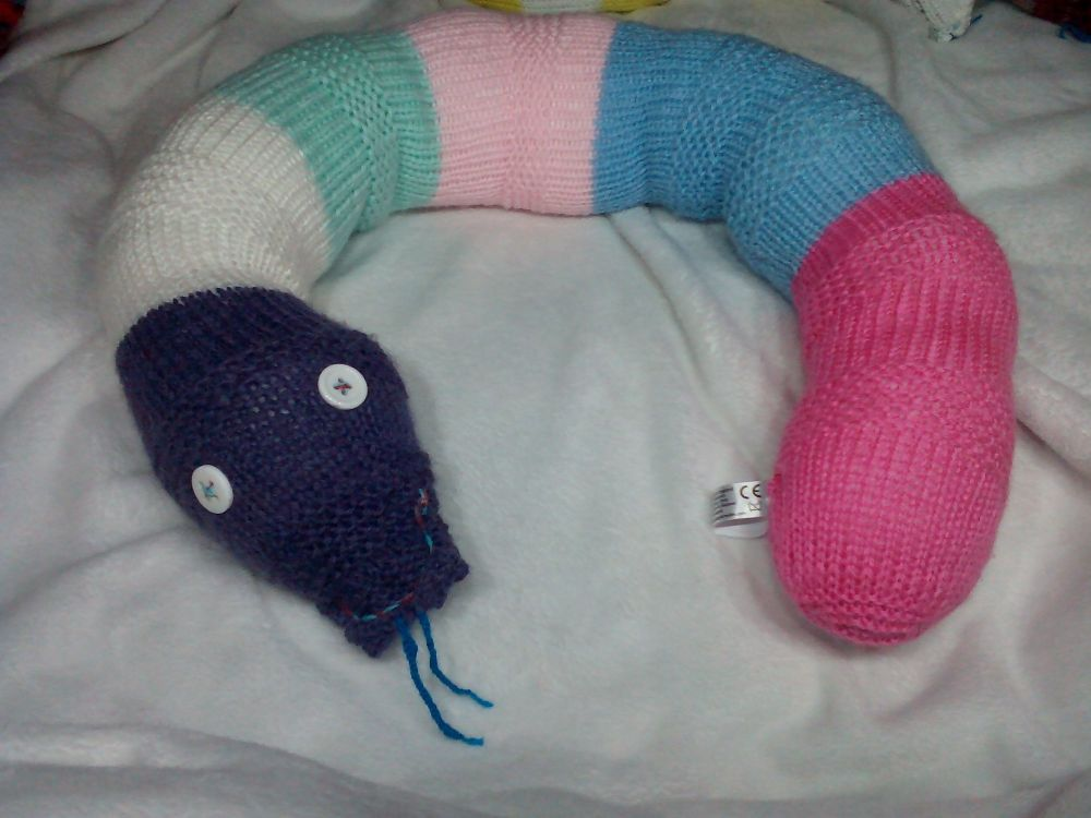 Greyish Purple White Pinks Blue Mint Giant Snake With White Eyes Knitted Soft Toy