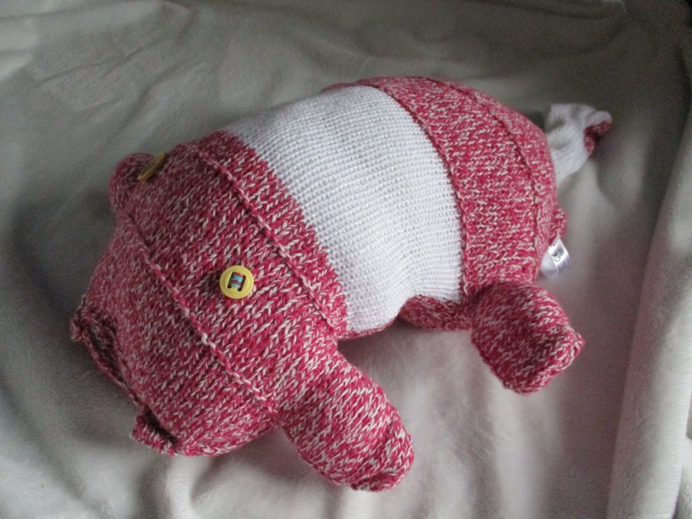 Pink White Mottled / White Banded with Mustard Eyes Giant Scuttlecat Knitted Soft Toy