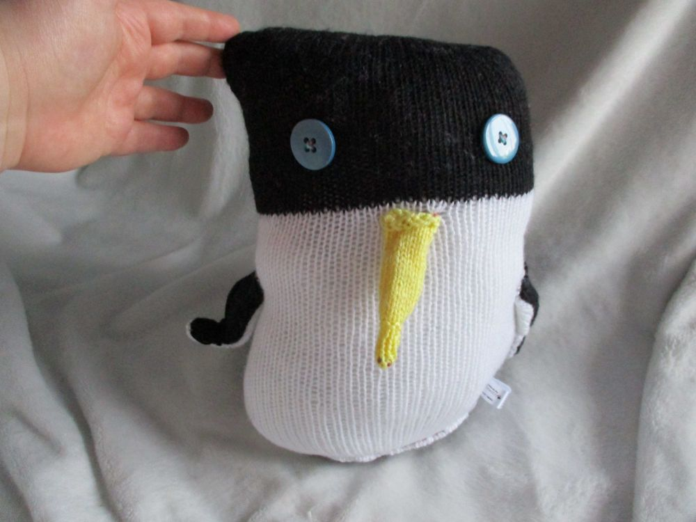 Black & White Wonky Giant Penguin - Yellow Beak with Slate Blue Eyes
