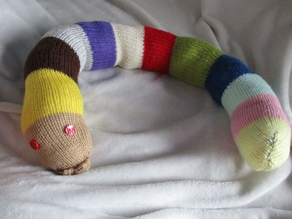Brown Yellow Headed Multi-colour Banded Body Giant Snake - Red Eyes Knitted Soft Toy