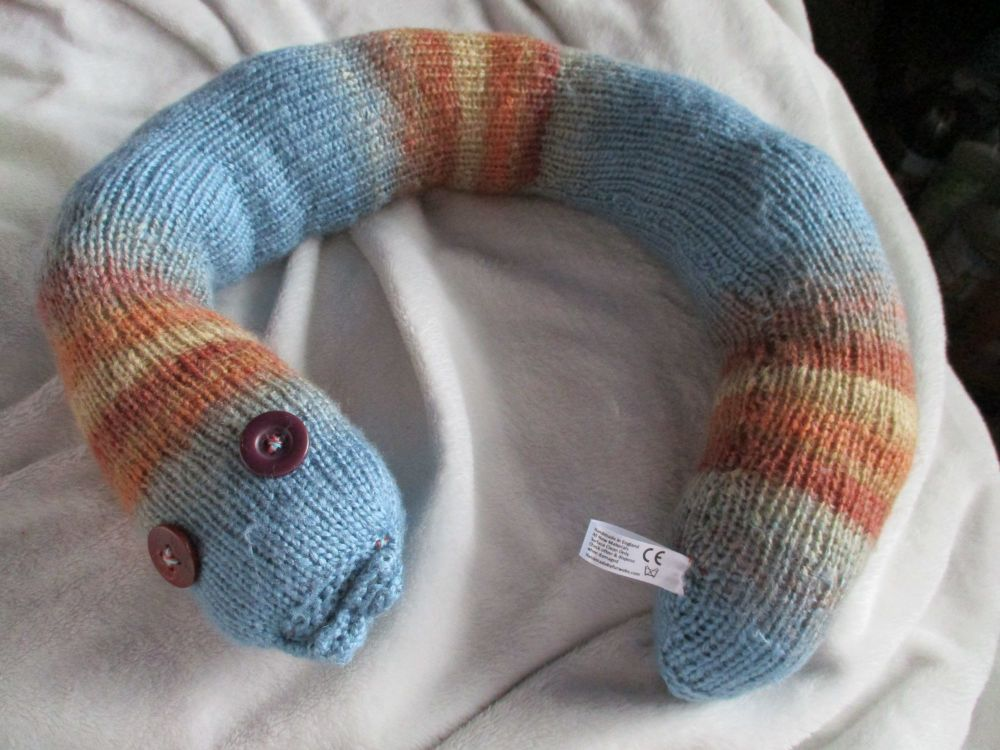 Blueish and Rust Toned Body Giant Snake - Purple/Blood Red Eyes Knitted Soft Toy