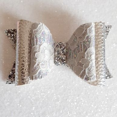 Silver Lace on Leatherette & Chunky Glitter