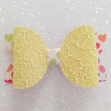 Yellow Lace on Hearts