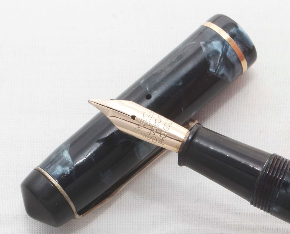 8152 Conway Stewart No.286 in Blue Marble. Broad Semi Flex Nib. Boxed