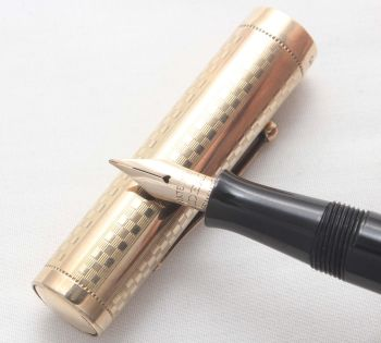 8074 Watermans Ideal No.52 in Black Hard Rubber with a Gold Filled Overlay. Fine Semi Flex Nib. - SOLD 07/17