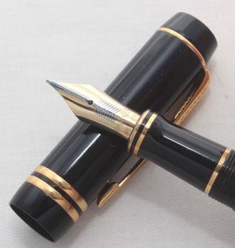 8155. Parker Duofold Centennial Fountain Pen in Classic Black from c2005, Medium FIVE STAR Nib. - SOLD 07/17
