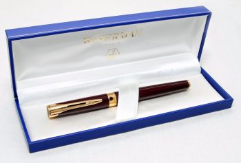 8233 Watermans L'Etalon Fountain Pen in Burgundy. Smooth 18ct Medium FIVE STAR nib. Mint and Boxed.