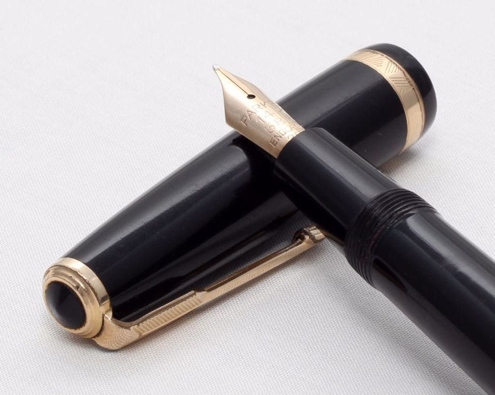 No.8173 Parker Duofold Aerometric in Classic Black, c1960, Fabulous Smooth