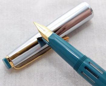 7824 Super Rotax Piston Filling Fountain Pen in Teal Blue, Made in Germany, NEW OLD STOCK, Extra Fine Nib.