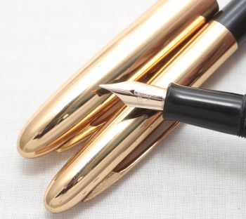 7627 Eversharp Symphony Mk III Fountain Pen and Pencil Set in Black. Fine Side of Medium FIVE STAR Nib.