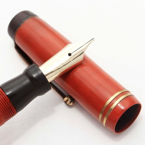 8255 Parker Duofold Lucky Curve Special in Red Permanite, c1932. Medium Ita