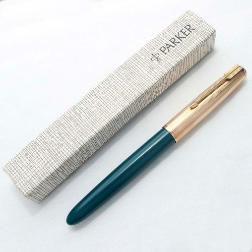 8265. Parker 51 Aerometric in Teal Blue with a Rolled Gold Cap, Mint and Bo