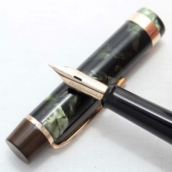 "8266 Onoto ""The Pen"" No.6234 in Green Marble. Superb Medium Flex FIVE STAR Nib."