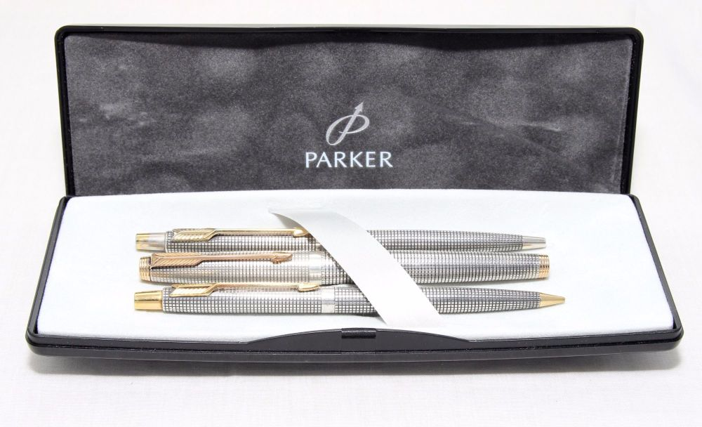 8286 Parker 75 Triple Set in Sterling Silver Cisele. Smooth Fine Nib. Boxed