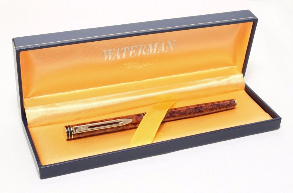 8296 Watermans Exclusive Fountain pen in Cognac Marbled Lacquer with Gold T