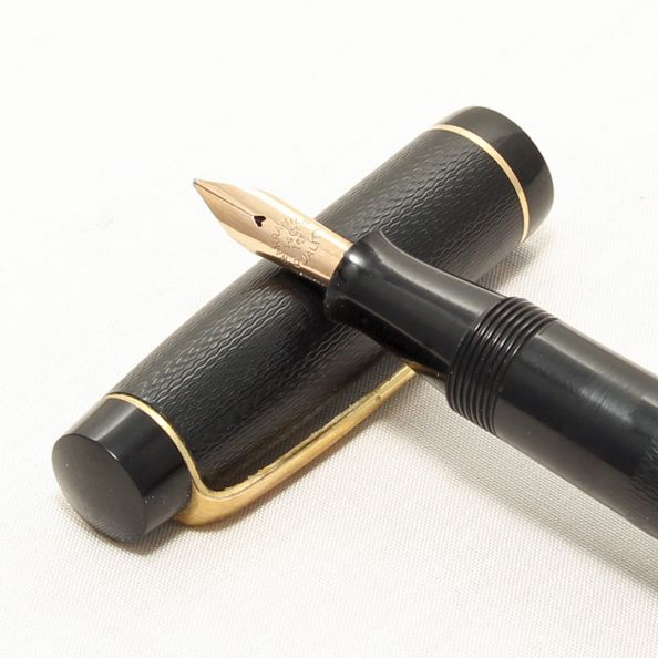 8304 Stephens Leverfil 106 Fountain Pen in Black chased Hard Rubber, Fine s