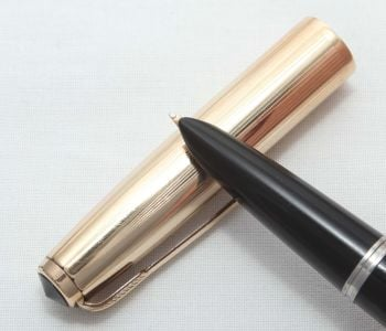 8320 Parker 51 Aerometric in Black with a Rolled Gold Cap. Smooth Medium Nib.
