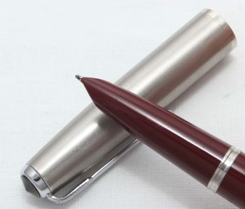 8326 Parker 51 Aerometric in Burgundy with a Lustraloy Cap. Smooth Fine Nib. Mint and Boxed.