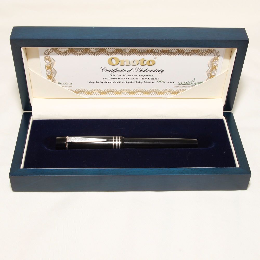 8352 Onoto Magna Classic Limited Edition Fountain Pen in Black and Sterling