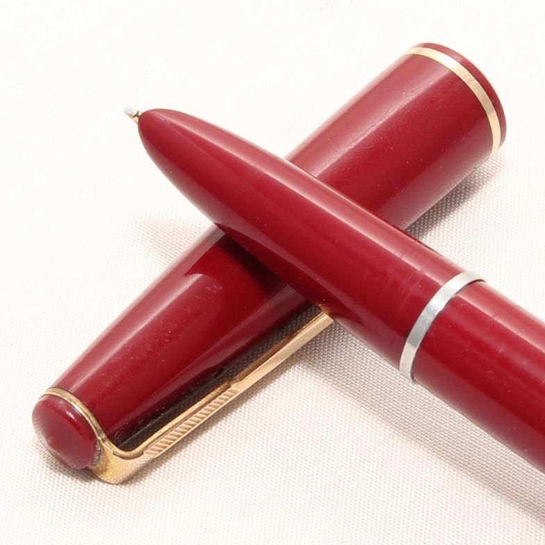 8349 Parker 17 Lady Duofold Fountain Pen in Burgundy, c1965, Broad Side of