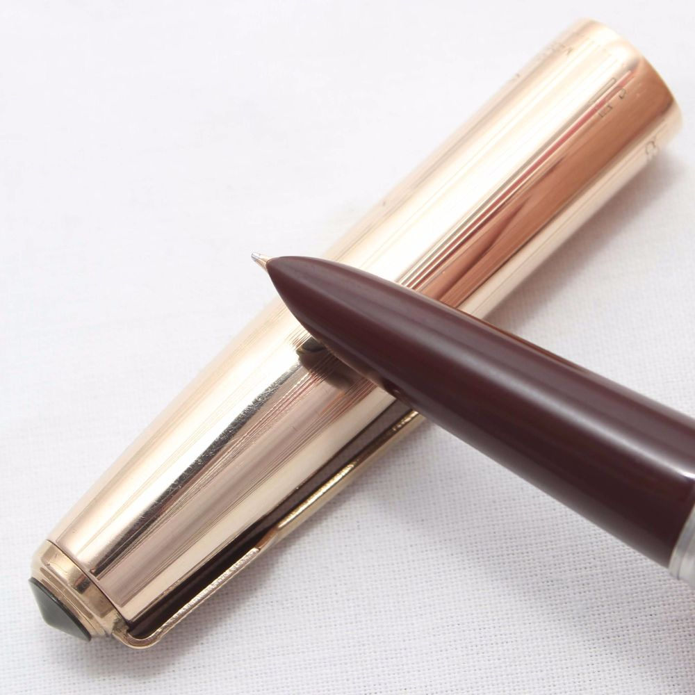 8374 Parker 51 Aerometric in Dark Burgundy with a Rolled Gold Cap. Smooth F