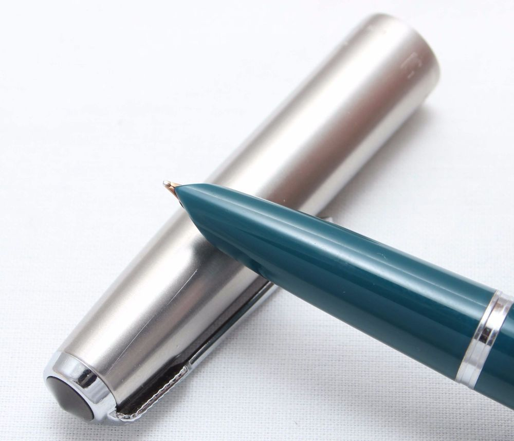 8378. Parker 51 Aerometric in Teal Blue with a Lustraloy Cap, Smooth Fine S