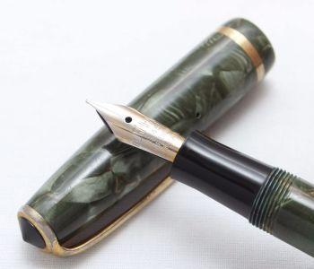 8381 Burnham B48 in Green Marble.  Fabulous Fine Italic Nib.