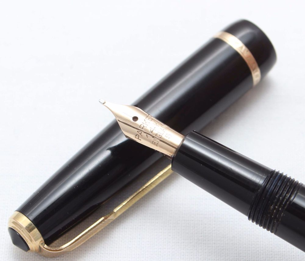 8383 Parker Duofold Slimfold in Black, Fantastic Fine Italic FIVE STAR Nib.