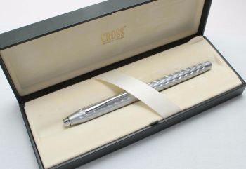 8405 AT Cross Century Fountain Pen in Frosted Stainless Steel. Medium Nib. Mint and Boxed.
