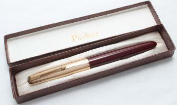 8422 Parker 51 Aerometric in Burgundy with a Rolled Gold Cap. Fabulous Broad Oblique Italic FIVE STAR Nib. Mint and Boxed.