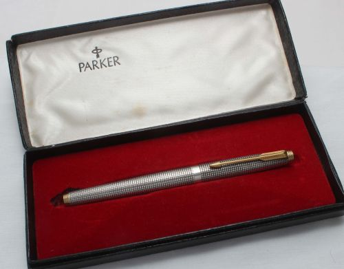 8426. Parker 75 in Sterling Silver Ciselle, Smooth Extra Fine FIVE STAR Nib