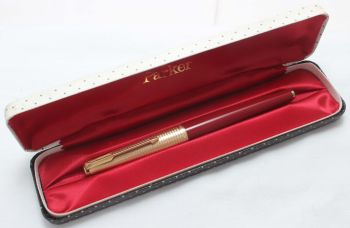 8428 Parker 61 Consort in Rage Red with a Rolled Gold Cap. Fine side of Medium FIVE STAR Nib, Mint and Boxed.