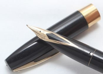 8439 Sheaffer Imperial Touchdown Fountain Pen in Black with Gold Filled trim, Smooth Extra Fine FIVE STAR Nib.